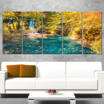 Designart Plitvice Lakes National Park Large Landscape Canvas Art Print - 5 Panels