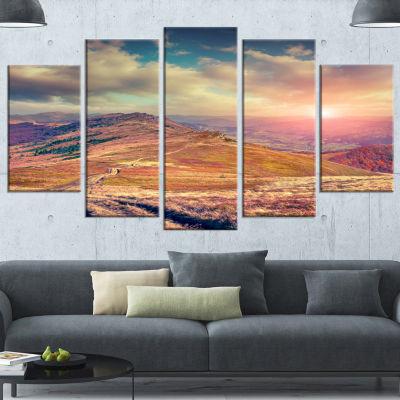 Designart Amazing Autumn Landscape In Hills WhiteLarge Landscape Canvas Art Print - 5 Panels