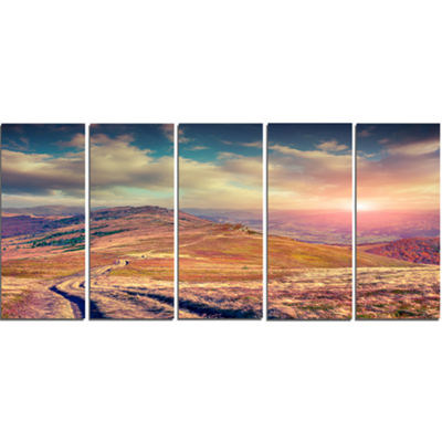 Designart Amazing Autumn Landscape In Hills LargeLandscapeCanvas Art Print - 5 Panels