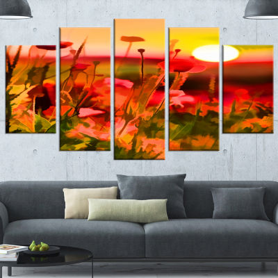 Summer Sunset With Red Poppies Large Landscape Wrapped Canvas Art Print - 5 Panels