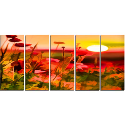 Designart Summer Sunset With Red Poppies Large Landscape Canvas Art Print - 5 Panels