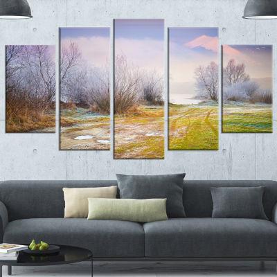 Designart Beautiful Foggy Autumn Sunset Green Large Landscape Canvas Art Print - 5 Panels