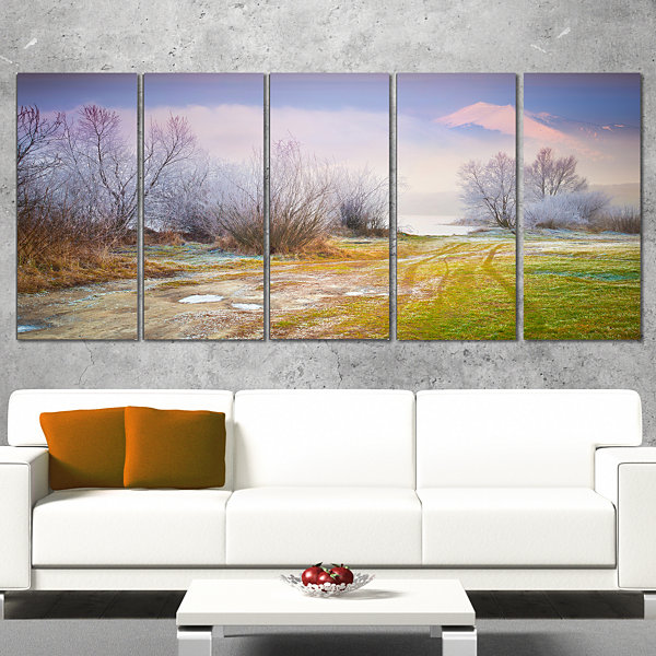Designart Beautiful Foggy Autumn Sunset Large Landscape Canvas Art Print - 5 Panels
