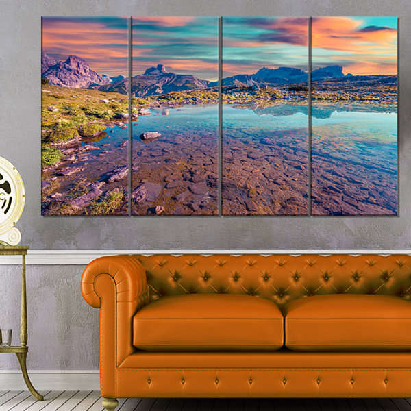 Designart Beautiful Lake In Lago Rienza SeashoreCanvas Art Print - 4 Panels