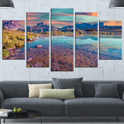 Designart Beautiful Lake In Lago Rienza Large Seashore Canvas Art Print - 5 Panels