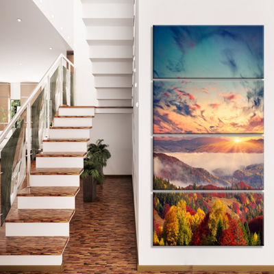 Designart Colorful Sunset In Foggy Mountains LargeLandscapeCanvas Art Print - 4 Panels