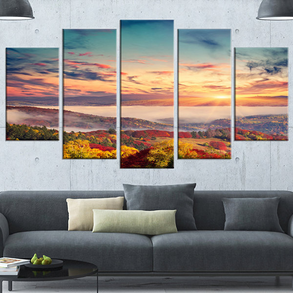 Design Art Colorful Sunset In Foggy Mountains Large LandscapeWrapped Canvas Art Print - 5 Panels