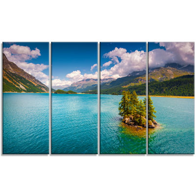 Designart Silsersee Lake In The Swiss Alps LargeLandscape Canvas Art Print - 4 Panels