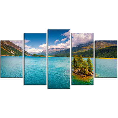 Designart Silsersee Lake In The Swiss Alps LargeLandscape Wrapped Canvas Art Print - 5 Panels