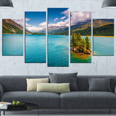 Designart Silsersee Lake In The Swiss Alps LargeLandscape Canvas Art Print - 5 Panels