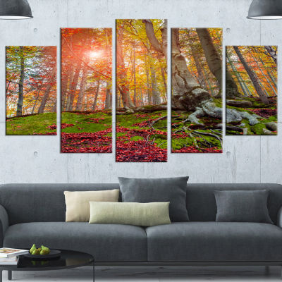 Design Art Colorful Autumn Trees In Forest Large Landscape Wrapped Canvas Art Print - 5 Panels