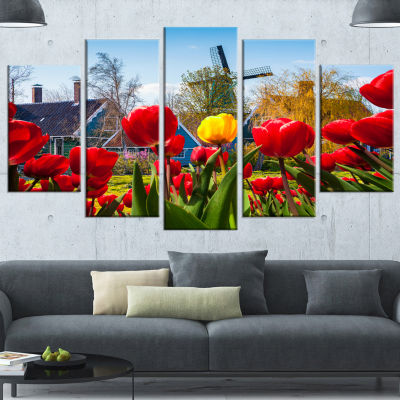 Tulips In The Netherlands Village Floral Canvas Art Print - 4 Panels