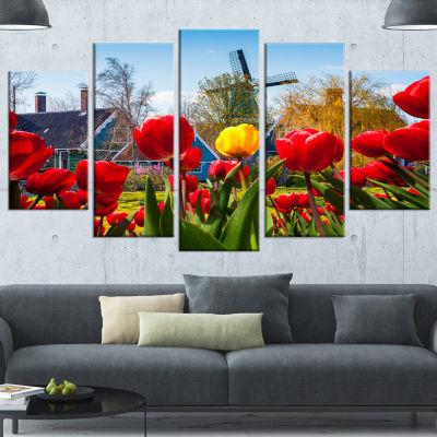 Designart Tulips In The Netherlands Village FloralCanvas Art Print - 5 Panels