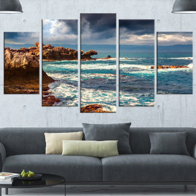 Designart Volcanic Beach Stormy Weather SeashoreCanvas Art Print - 4 Panels