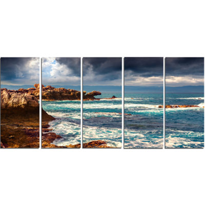 Designart Volcanic Beach Stormy Weather SeashoreCanvas Art Print - 5 Panels