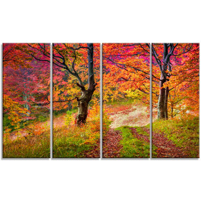 Designart Bright Colorful Fall Trees In Forest Large Landscape Canvas Art Print - 4 Panels