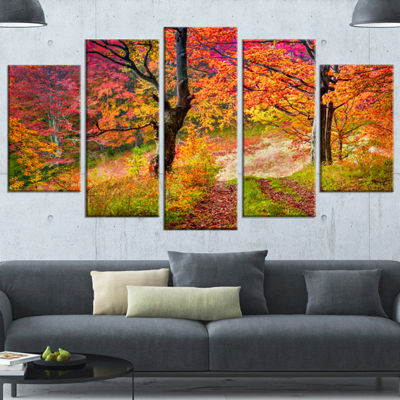 Designart Bright Colorful Fall Trees In Forest Large Landscape Wrapped Canvas Art Print - 5 Panels