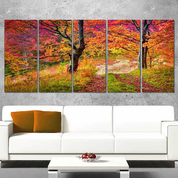 Designart Bright Colorful Fall Trees In Forest Large Landscape Canvas Art Print - 5 Panels