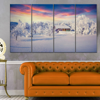 Snowfall Covering Trees And Houses Large LandscapeCanvas Art Print - 4 Panels