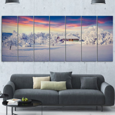 Design Art Snowfall Covering Trees And Houses Large LandscapeCanvas Art Print - 4 Panels