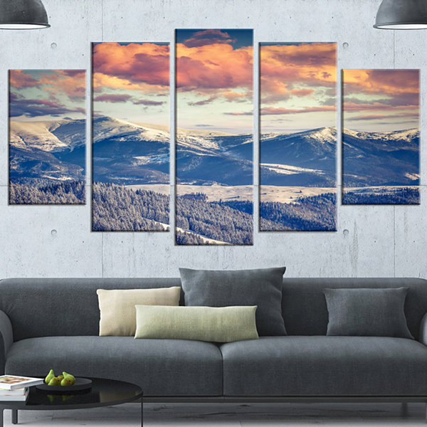 Design Art Winter Alpine Sunset Over Hills Large Landscape Wrapped Canvas Art Print - 5 Panels