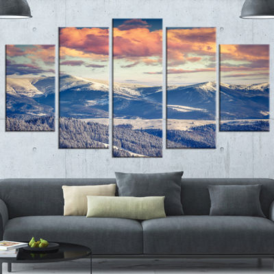 Designart Winter Alpine Sunset Over Hills Large Landscape Wrapped Canvas Art Print - 5 Panels