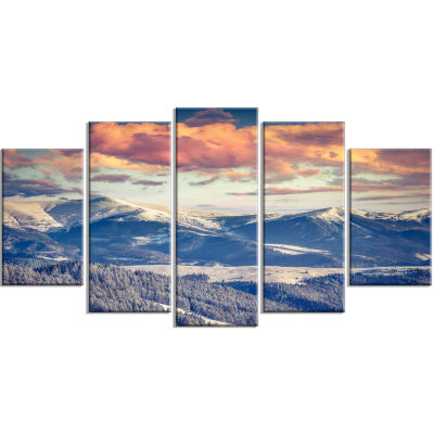 Winter Alpine Sunset Over Hills Large Landscape Wrapped Canvas Art Print - 5 Panels