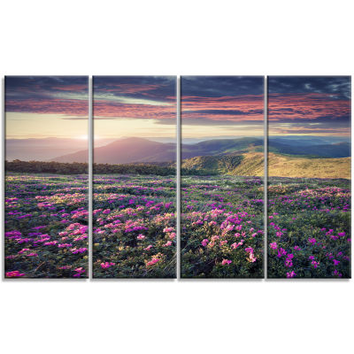 Blossom Carpet Of Pink Rhododendron Large Landscape Canvas Art Print - 4 Panels