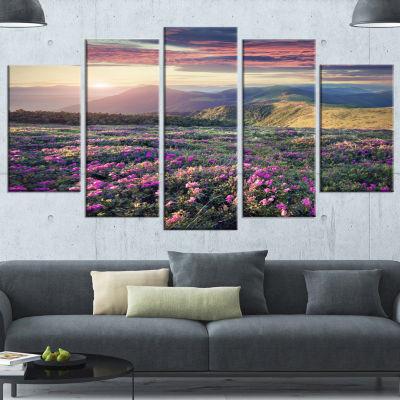 Designart Blossom Carpet Of Pink Rhododendron Large Landscape Wrapped Canvas Art Print - 5 Panels