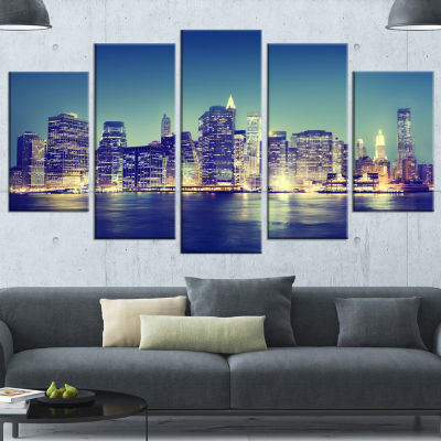New York City Evening Panorama Blue Extra Large Canvas Art Print - 5 Panels