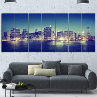 Designart New York City Evening Panorama Extra Large Canvas Art Print - 5 Panels
