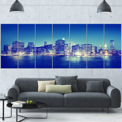 New York City Night Panorama Blue Extra Large Canvas Art Print - 5 Panels
