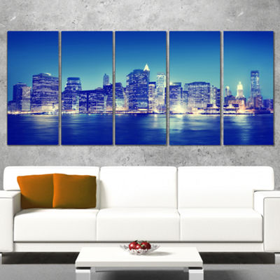 Designart New York City Night Panorama Extra LargeCanvas Art Print - 5 Panels
