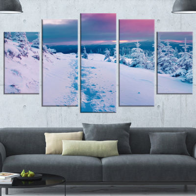 Beautiful Sunrise Over Winter Mountains Large Landscape Wrapped Canvas Art Print - 5 Panels