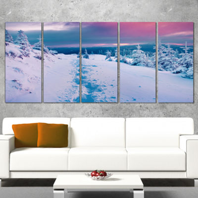 Designart Beautiful Sunrise Over Winter MountainsLarge Landscape Canvas Art Print - 5 Panels
