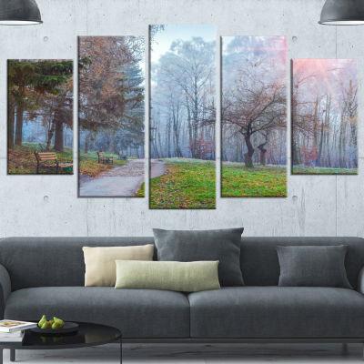 Designart Bright Sun Over Autumn Trees Large Landscape Canvas Art Print - 5 Panels