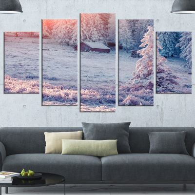Sunrise Over Foggy Winter Forest Large Landscape Wrapped Canvas Art Print - 5 Panels