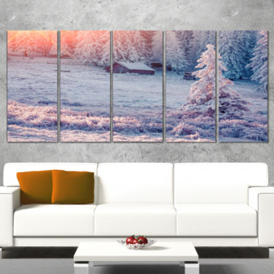 Sunrise Over Foggy Winter Forest Large Landscape Canvas Art Print - 5 Panels