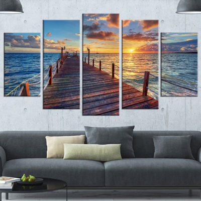 Designart Beautiful Sunset Over Sea Pier Modern Canvas Art Print - 4 Panels