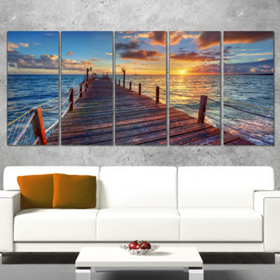 Designart Beautiful Sunset Over Sea Pier Modern Canvas Art Print - 5 Panels