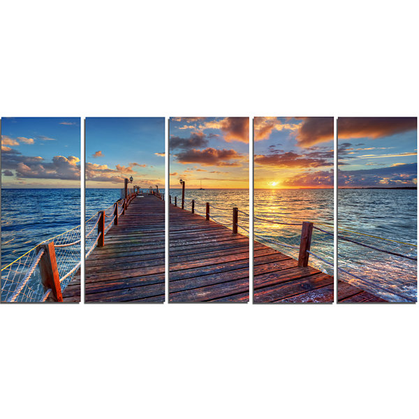 Design Art Beautiful Sunset Over Sea Pier Modern Canvas Art Print - 5 Panels