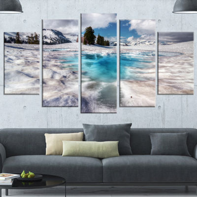 Designart Beautiful Snow Covered Lake Large Landscape Wrapped Canvas Art Print - 5 Panels