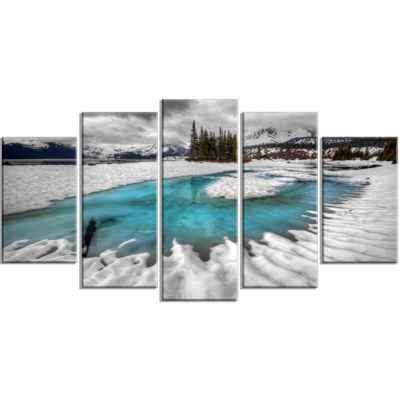 Designart Frosted Crystal Clear Lake Large Landscape Wrapped Canvas Art Print - 5 Panels