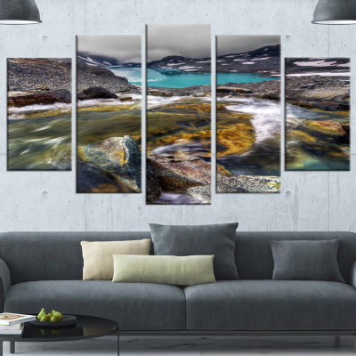 Designart Mountain Creek Flowing Into Lake LargeLandscape Canvas Art Print - 4 Panels