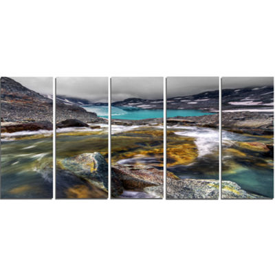 Designart Mountain Creek Flowing Into Lake LargeLandscape Canvas Art Print - 5 Panels