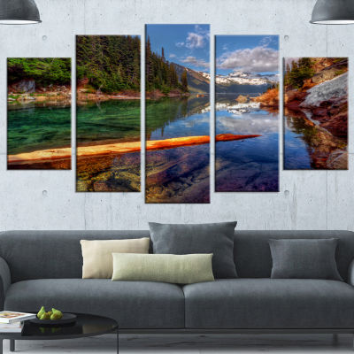 Designart Floating Lake In Mountain Lake Large Landscape Canvas Art Print - 4 Panels