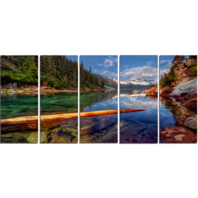 Floating Lake In Mountain Lake Large Landscape Canvas Art Print - 5 Panels