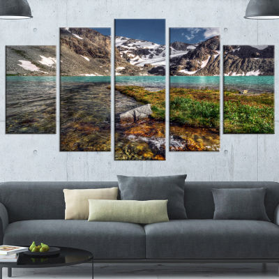 Designart Crystal Clear Creek In Mountains LargeLandscape Wrapped Canvas Art Print - 5 Panels