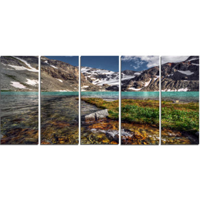 Designart Crystal Clear Creek In Mountains LargeLandscape Canvas Art Print - 5 Panels