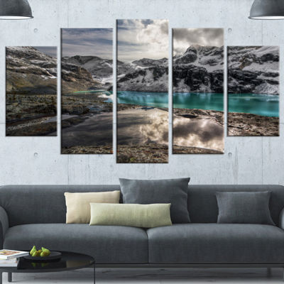 Designart Mountain Creek Under Cloudy Sky Large Landscape Canvas Art Print - 5 Panels